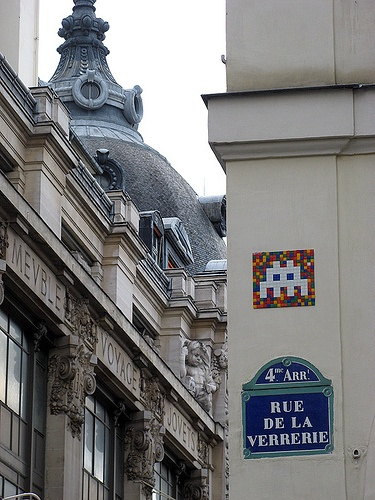 Space Invaders near BHV Department Store - Street Art, Le Marais, Paris