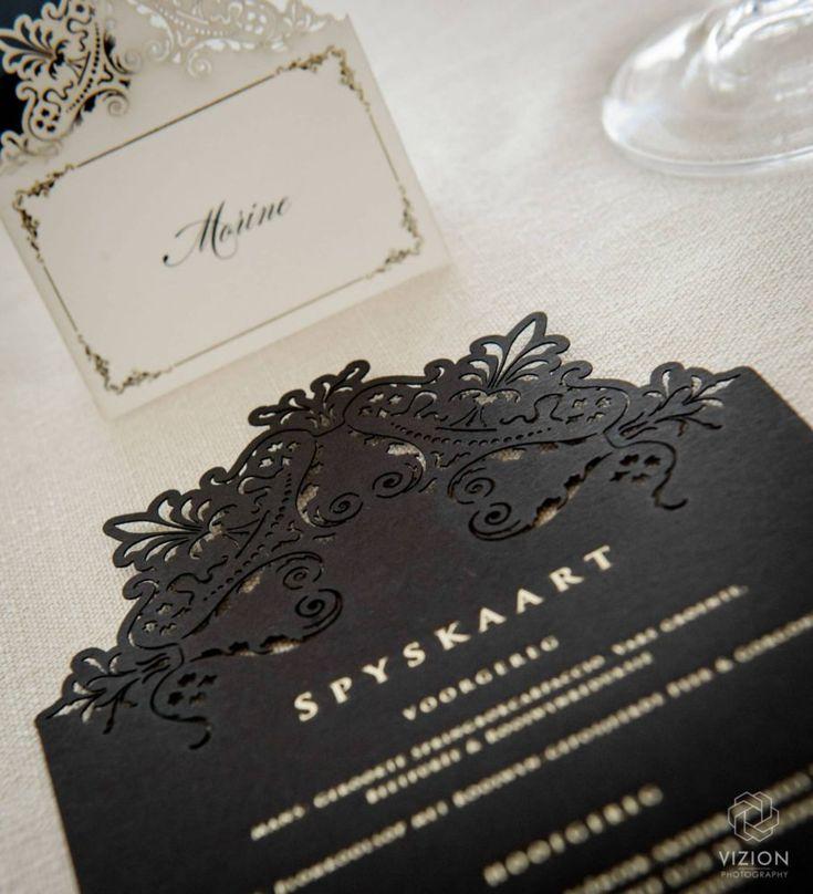 Elize & Stefan Real Wedding Showcase - The Aleit Group  Wedding stationery. Menu. Secret Diary. Table setting. Laurent Venue.