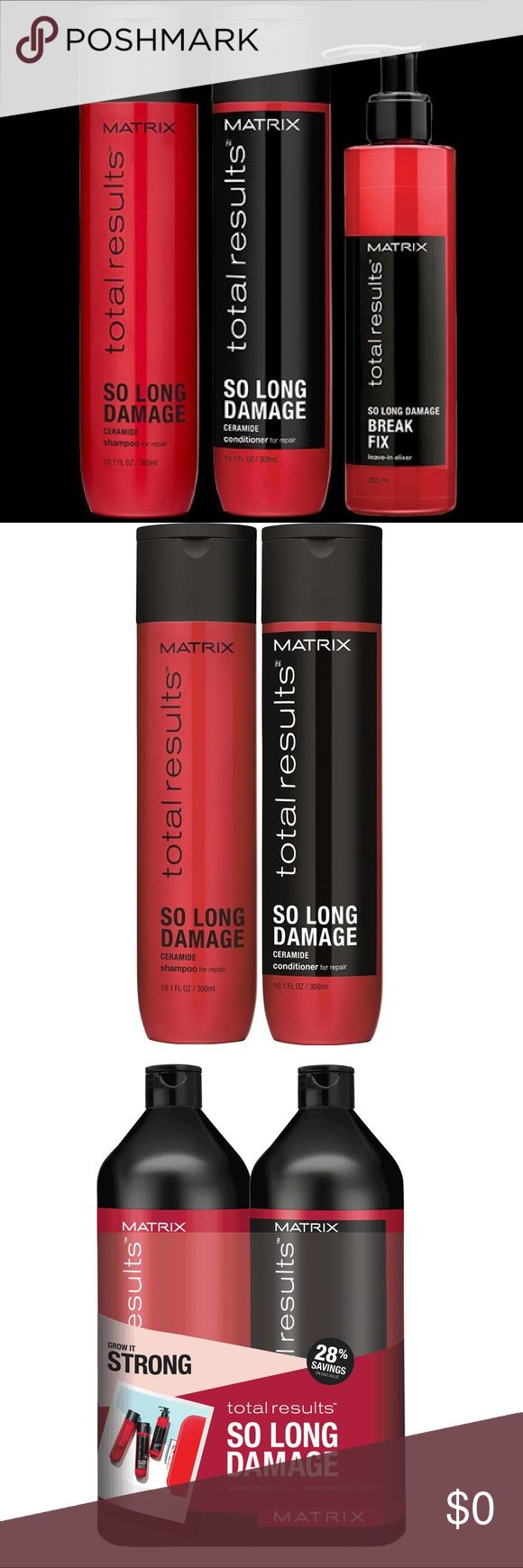 🌟 Matrix So Long Damaged Hair System enhances shine and helps boost hair strength to reduce breakage and allow hair to grow longer.                                                                     Leave-in Elixir 6.7 oz helps repair damage for totally strong hair when used together as a system with Matrix Shampoo and Conditioner.                                                                   Malibu swimmers hair and hard water packets Makeup