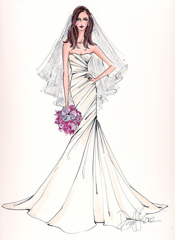 Custom Bridal Illustration. $165.00, via Etsy.