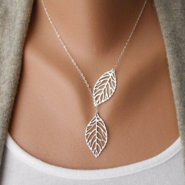 Double Leaves Pendant Necklace