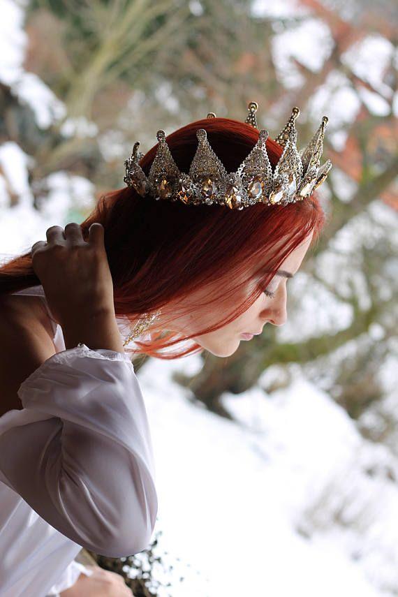 Quartz Formal Tiara Perl Quartz Crystal Crown Crystal Point Bridal Headpiece