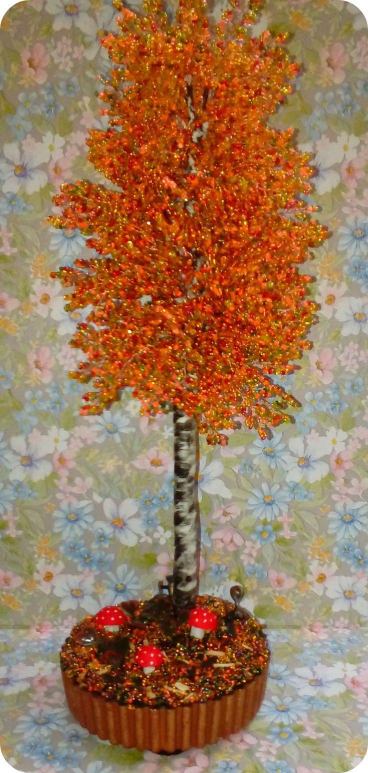 Осенняя береза из бисера.Ручная работа...))))))))