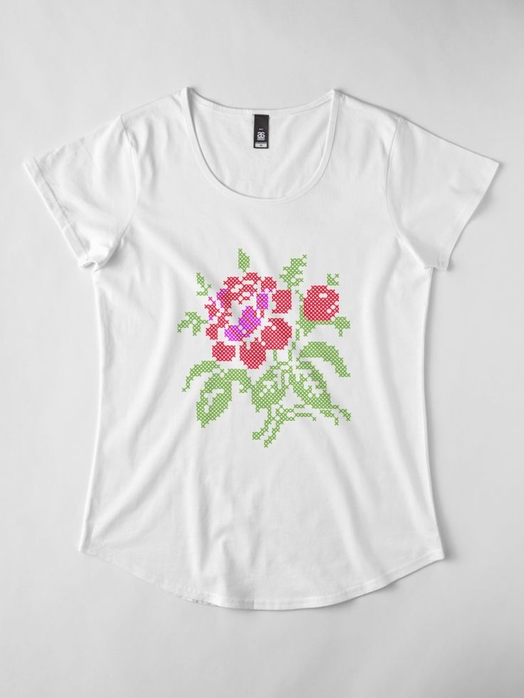 Vintage Embroidered Red Rose made in Adobe Illustrator stitch by stitch, • Also buy this artwork on apparel, phone cases, home decor, and more.