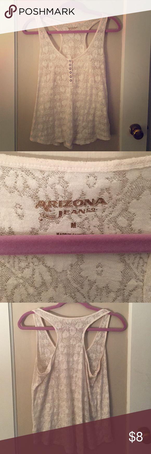 Arizona lace razorback tank top Cream Lacey razorback tank top. Buttons half way down. Materials in picture. Arizona Jean Company Tops Tank Tops