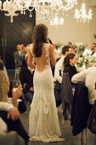 Beathtaking low-back Galia Lahav Wedding Gown | SouthBound Bride | http://www.southboundbride.com/chic-vineyard-wedding-by-dna-photographers-ana-dylan | Credit: DNA Photographers #wedding #galialahav #weddingdress #lowback
