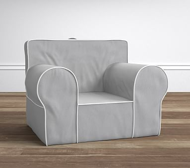 Gray With White Piping Oversized Anywhere Chair R