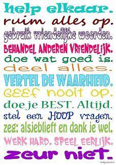 Klassenregels (A3). Visit: www.emilieslanguages.com or https://www.facebook.com/emilieslanguages #emilieslanguages  #dutch #darwin