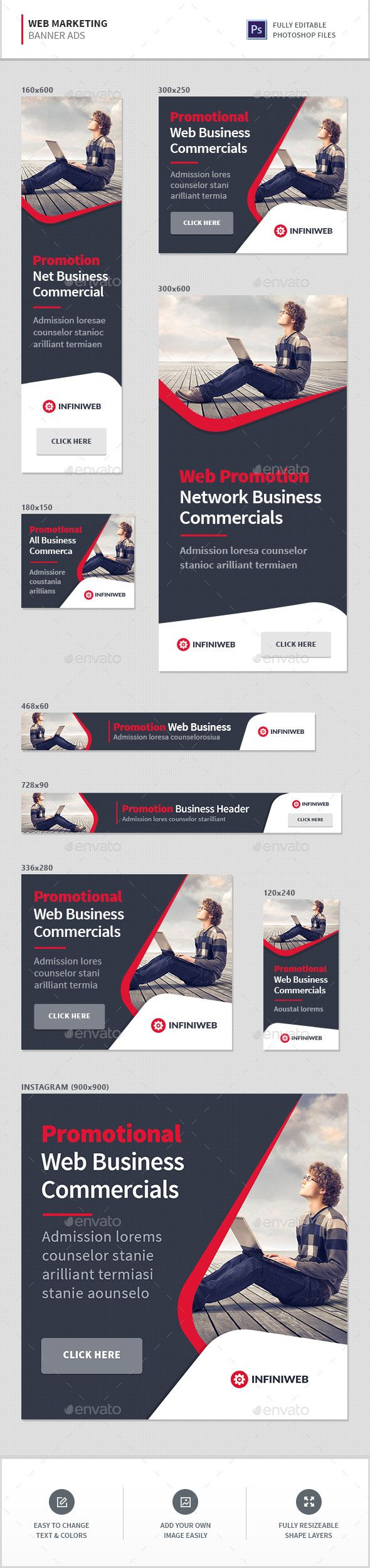 Marketing Web Banners Template PSD #promotion #ads Download here: https://graphicriver.net/item/marketing-banners/17661272?ref=ksioks