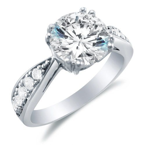 Size 4 - Solid 14k White Gold Round Brilliant Cut Solitaire with Round Side Stones Highest Quality CZ Cubic Zirconia Engagement Ring 2.0ct. Elegant Velvet Ring Box Included. FREE Standard Shipping. Highest Quality CZ Cubic Zirconia.