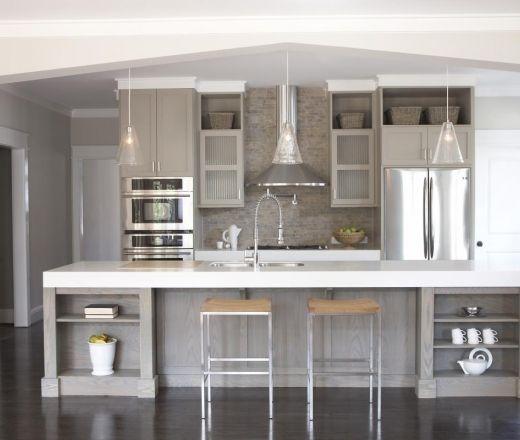 Modern Island Style Grey kitchen, grey cabinets