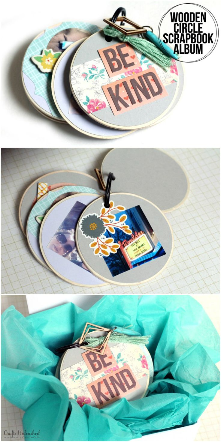 This wooden circle scrapbook pocket album uses pre-cut wooden circles for a creative take on a traditional album. It's so fun to make - learn how!