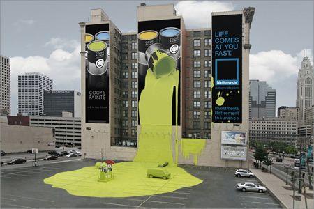 """Nationwide Insurance #banner #gigante fue colocado en el ala norte del edificio """"Atlas"""" de Columbus Ohio. #btl"""