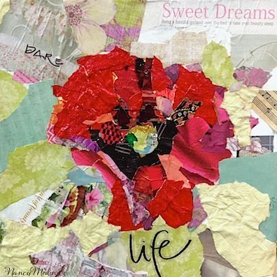 Unfurled Poppy - mixed media, torn paper collage, 12X12 by Nancy Medina Art.