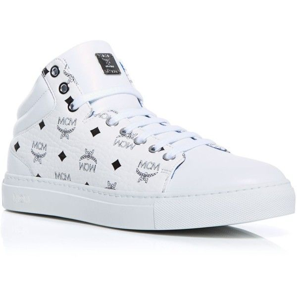 Mcm Sneakers ($495) ❤ liked on Polyvore featuring shoes, sneakers, white, lace up shoes, lacing sneakers, mcm sneakers, patterned shoes and print sneakers