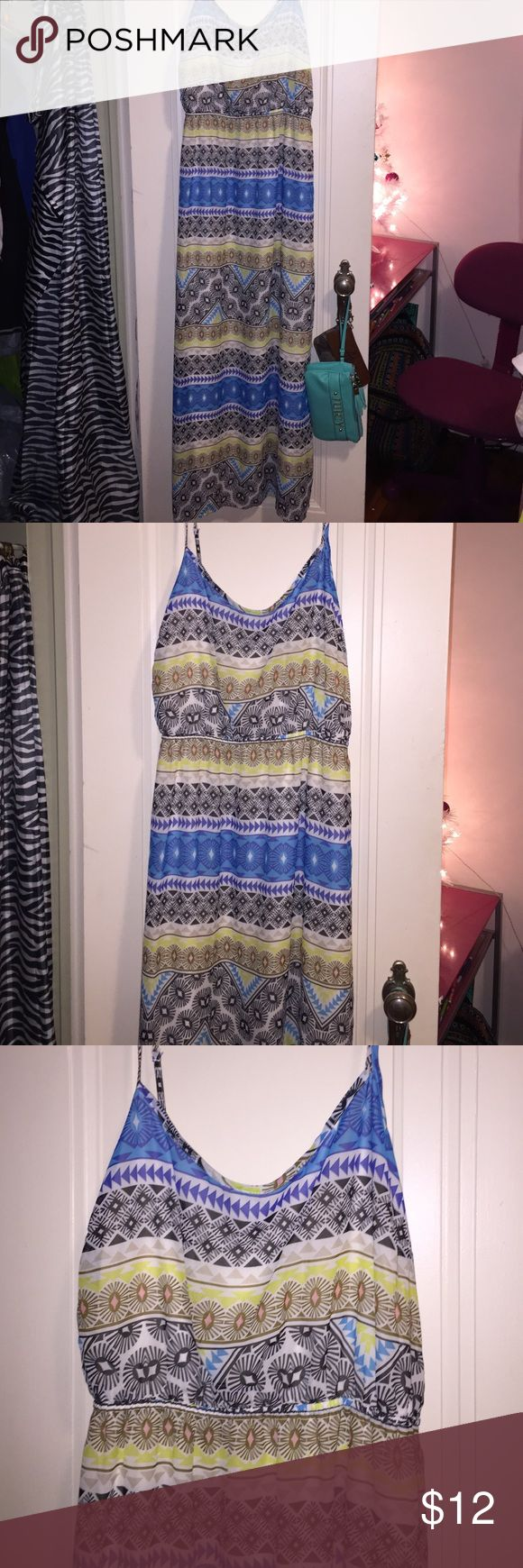 Old navy, Aztec long maxi dress,black blue yellow Colors are black, blue, yellow. Maxi (long) Aztec print. Adjustable straps. Flowy, silky. Old Navy Dresses Maxi