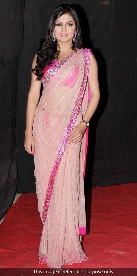 e34d693664c Drashti Dhami Net Pink Bollywood Style Saree - 5147A180