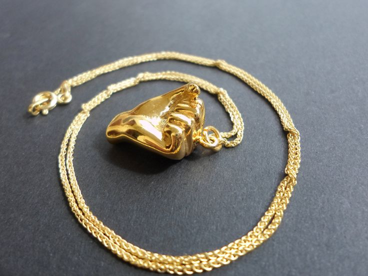 BLACKFRIDAY Gold fist necklace jewelry, gold plated fist pendant, necklace, power symbol necklace, solidarity, handmade, spring gift, team w - $62.90 USD