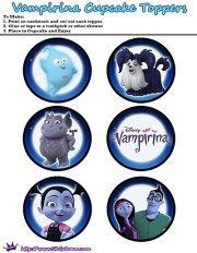 Printable Cupcake toppers from the Free Disney Junior Vampirina Printable Party Kit