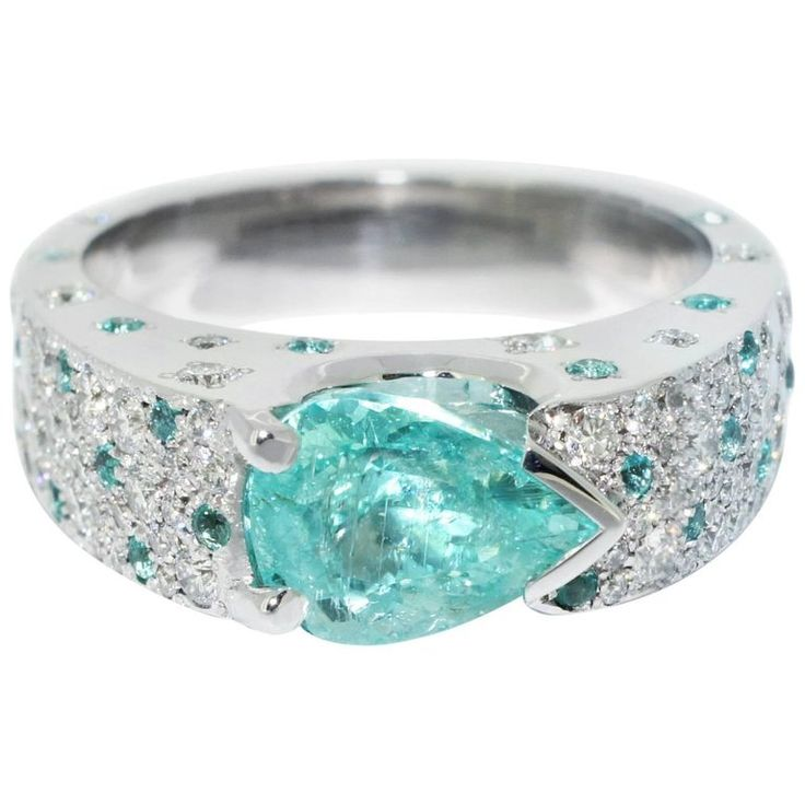 Lizunova One-of-a-Kind Paraiba Tourmaline Diamond Ring in 18 Karat White Gold | From a unique collection of vintage solitaire rings at https://www.1stdibs.com/jewelry/rings/solitaire-rings/
