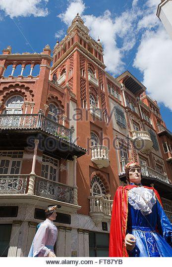 BADAJOZ, SPAIN, JUNE 22: Giants and large heads. Traditional festivals in Badajoz, Soledad Square, on June 22, 2014, Badajoz, Sp - Stock Image