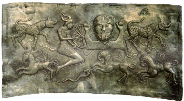 Interior panel from the Gundestrup Cauldron... dated between 200 BC and 300 AD...  found in a peat bog in Jutland, Denmark in the late 1800's, it is now housed in the Danish National Museum...