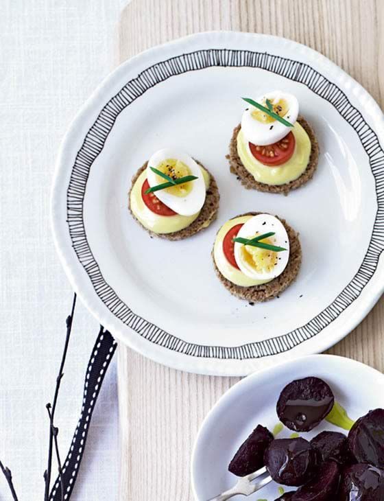 79 best easter inspiration images on pinterest food sainsburys this sainsburys magazine quail eggs on rye recipe would make a lovely easter horderve find negle Images