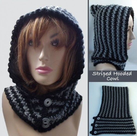 Hooded Striped Cowl