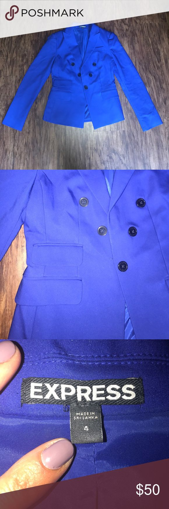 Express Royal Blue Blazer Size 4 size 4 blazer from express. can be matched with dress pants or over a dress to go out! royal blue coloring with black buttons. worn once. dry cleaned again after the picture was taken Express Jackets & Coats Blazers