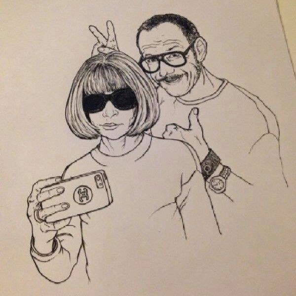 Anna Wintour & Terry Richardson drawing by Jlinq for PRomote Your Art event (4 dec Amsterdam)
