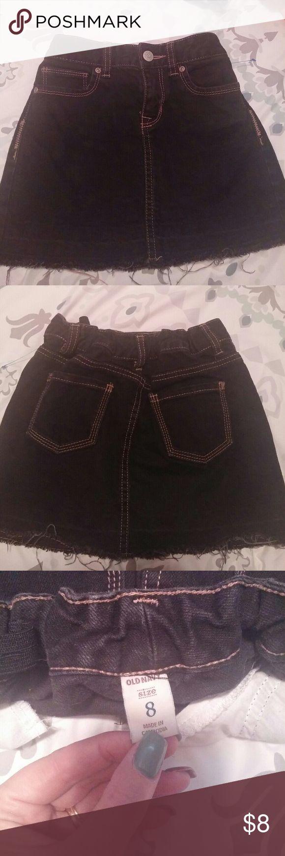 Little girls black jean shirt Old Navy black jean skirt with adjustable waist Old Navy Bottoms Skirts