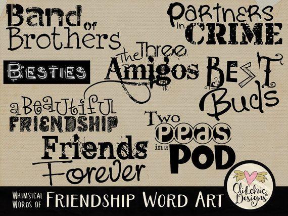 Friends Digital Scrapbook Word Art Titles Clipart - Friendship Typography Wordart Overlays - Photo Overlays by ClikchicDesign #photoshop #graphic #design by Clikchic Designs