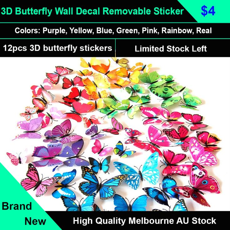 New 3D Butterfly Wall Decal Removable Sticker Kids Art Nursery Xmas Decoration  It comes with blown-sponge and got magnet in the body of the Butterfly, can be applied on all smooth surface, such as walls, doors