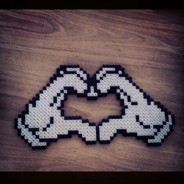 Love heart hama beads by javi_barchino
