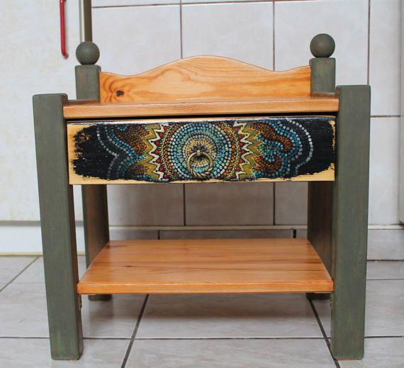 Oriental hippie boho wooden nightstand 49x46,5cm bedside cabinet hand painted