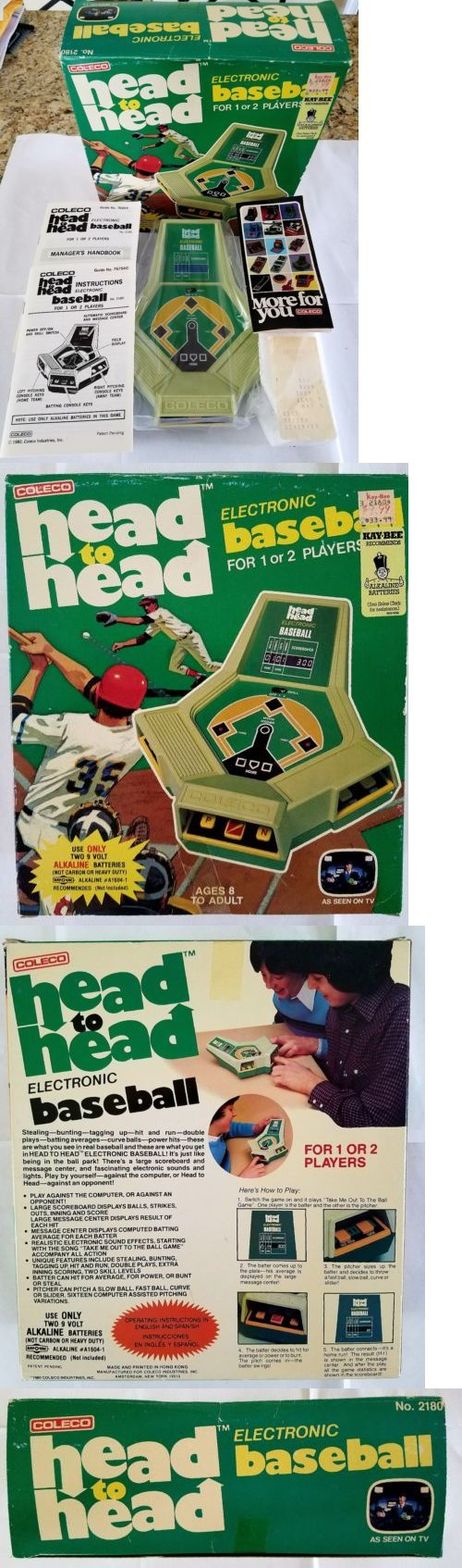 Electronic Games 2540: Vintage Coleco Head To Head Electronic Baseball Handheld Video Game - New In Box -> BUY IT NOW ONLY: $150 on eBay!