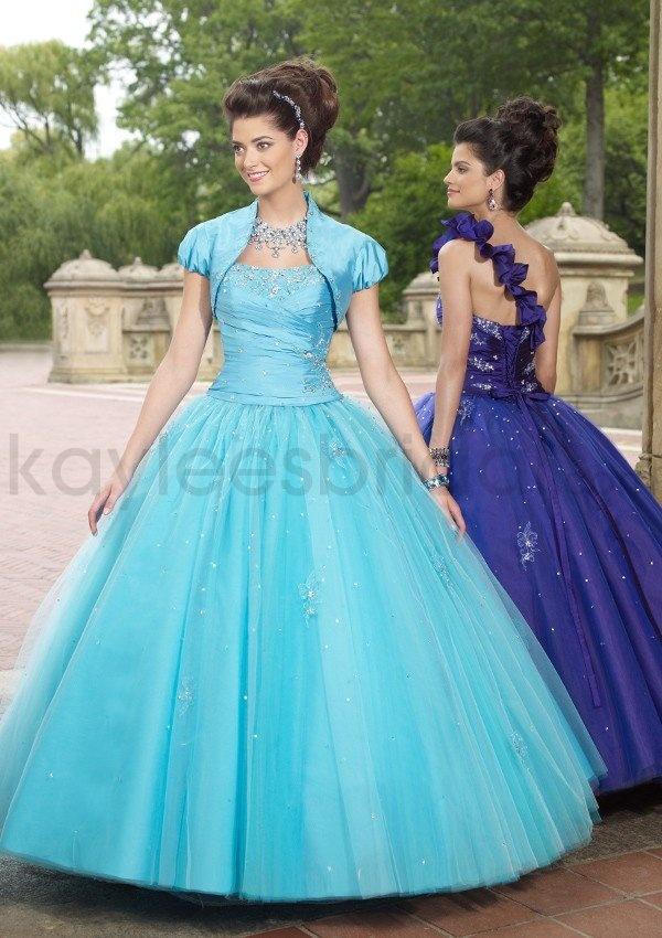 Taffeta Softly Curved Neckline Beaded Bodice Quince Dress @Katherine B. OMG Kat I could be Cinderella!!