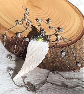 Turkish Handmade Sterling Silver Zircon Necklace w Bone Swarovski Pendant | eBay