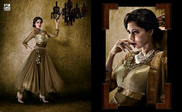 Brown Designer Long Length Salwar Kameez - Salwar Suits