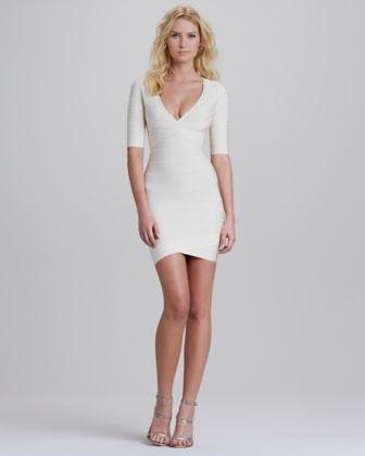 V-Neck Half-Sleeve Bandage Dress by Herve Leger at Neiman Marcus.
