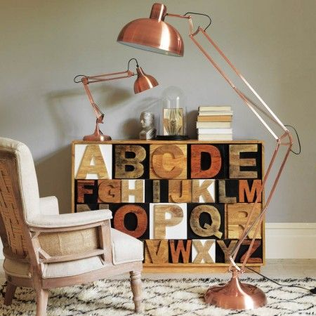 Copper Angled Floor Lamp - Floor Lamps - Lighting - Lighting & Mirrors