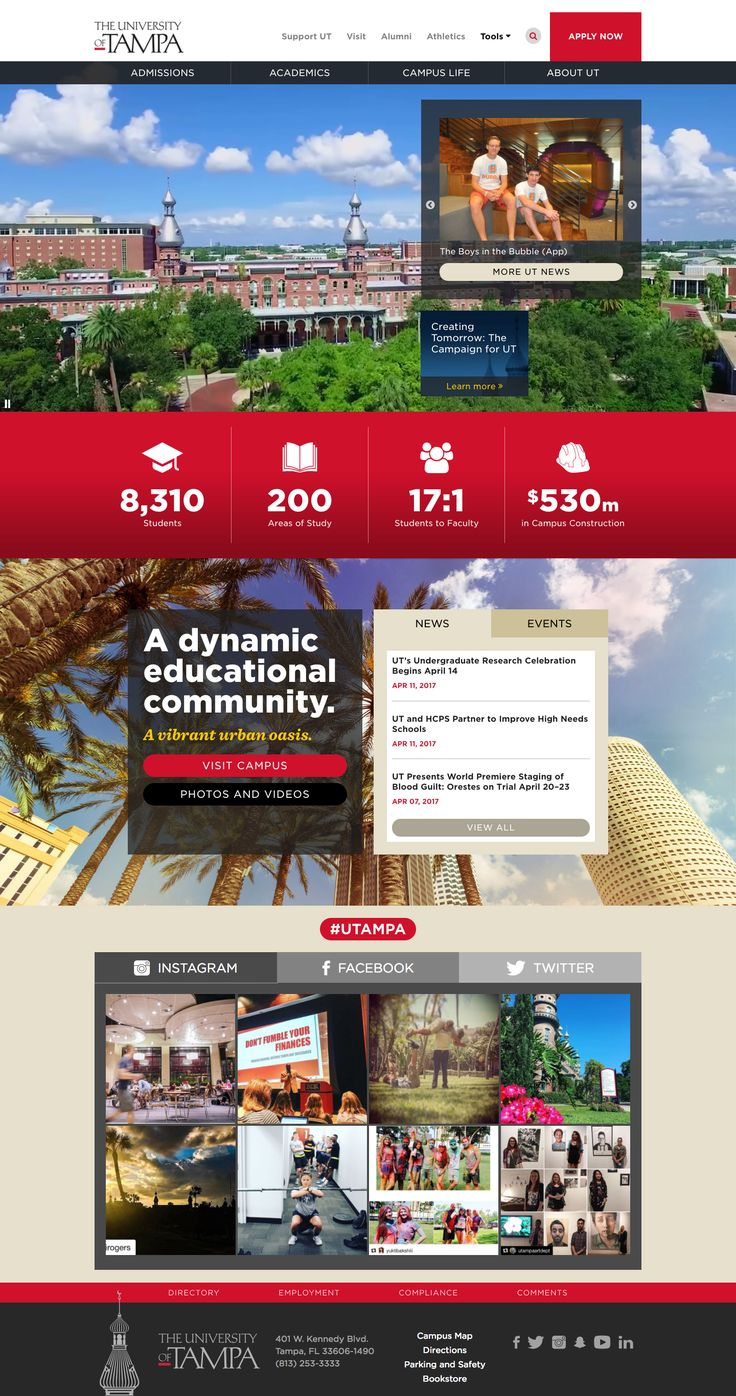 The University of Tampa, FL website homepage has a nice slow-moving video shot of the campus coming into view from a hovering camera. The #red bar holds stats that change with a mouseover effect — and reveals more with a link for more information. The bottom has a social media area that shows the latest updates within it. #tan #gray #black