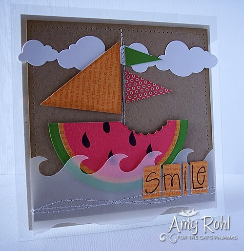 A fun card with a little watermelon boat. Could make a good watermelon party on the beach invite