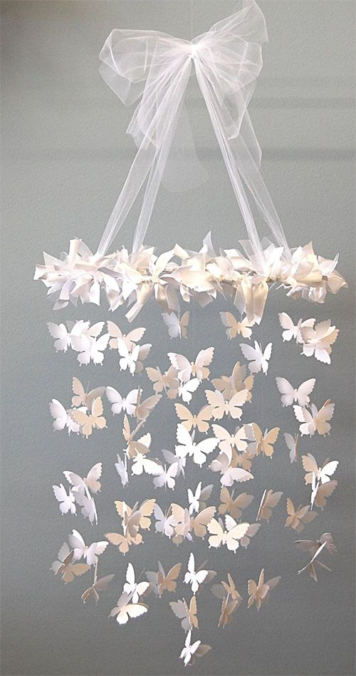 Un volo di farfalle - DIY - Butterfly Chandelier using a Craft Punch + Fishing Wire. Step-by-Step Tutorial.