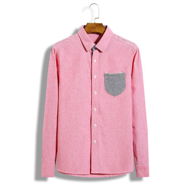 KENNTRICE Brand Pink Casual Blouses Men Cotton Dress Shirt Long-sleeved Slim Solid Man Office Shirts Camisa masculina Chemise