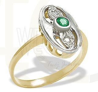 Złoty pierścionek ze szmaragdem i brylantami / Ring made from yellow gold with a diamonds / 1022 PLN / #gold #ring #engagement #fiance #diamonds