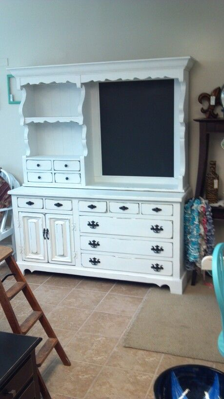 Kitchen Hutch With A Chalk Boardwas Dresser Mirror