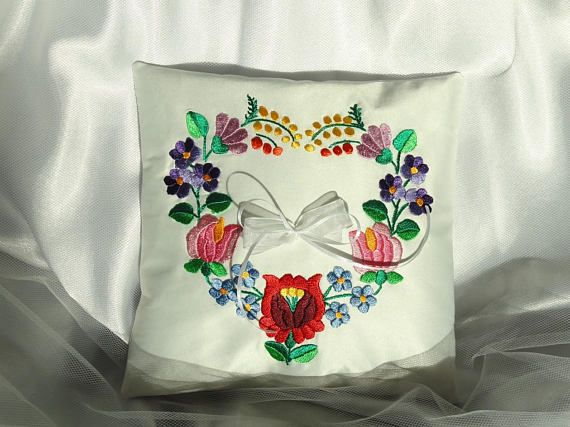 Kalocsa embroidered ring pillow Wedding ring bearer pillow