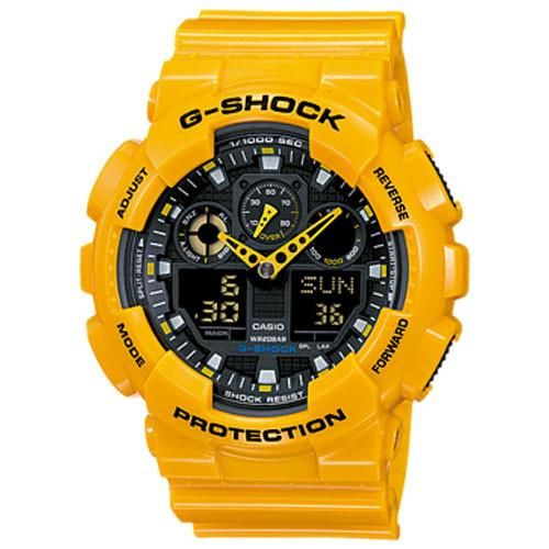Casio G-Shock Yellow Resin Band Black Dial Men's Watch GA-100A-9A