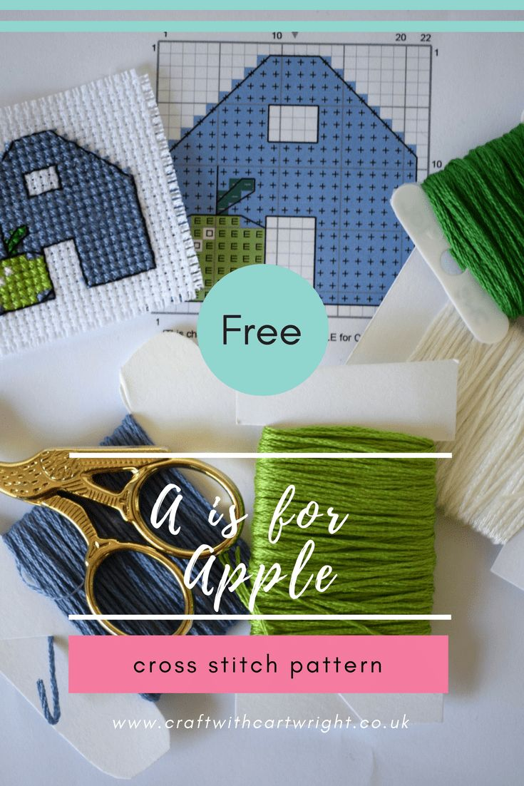 free a is for apple cross stitch pattern A great quick pattern to stitch up, it's perfect for beginners who want to tackle some half stitches and back stitch. Change the colours to suit your own style.